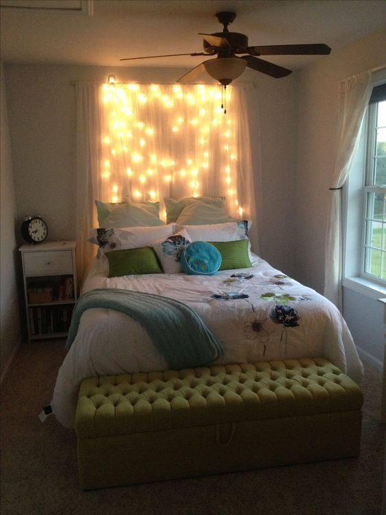 Shear Curtains Light Headboard And Diy Light On Pinterest