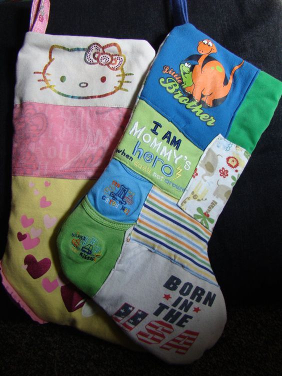 Custom memory quilt Christmas stocking by 3StitchCreations on Etsy best idea eve for favorite baby or toddler clothes!