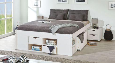 Schubkasten Doppelbett Goteborg Aus Kiefer In Weiss Bett Mit Schubladen Bettfedern Haus