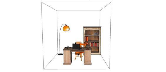 Le Cube sera unique...ici un bureau/bibliothèque!