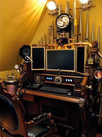 Steampunk computer workstation...amazing? I think so.