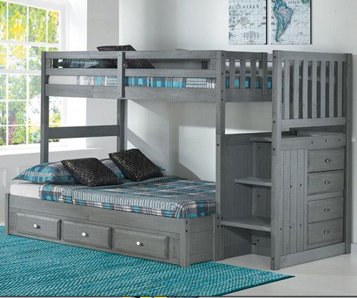 Westport Gray Twin Over Full Stair Stepper Bunk Bed Bunk Bed With Trundle Bunk Beds With Drawers Bunk Beds With Stairs