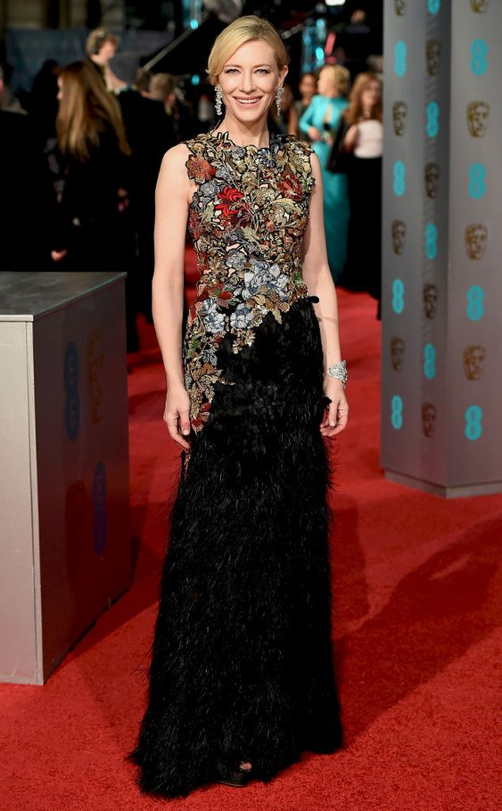 Cate Blanchett from 2016 BAFTA Film Awards: Celebrity Arrivals  The actress looks regal in a colorful, jeweled gown.