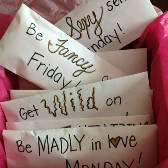 Here's a cute and special bachelorette gift idea.  Purchase seven unique pairs of underwear, one for each day of the week.  Place each pair in a different envelope.  Write a catchy phrase that matches the style of the underwear on the outside of the envelope.