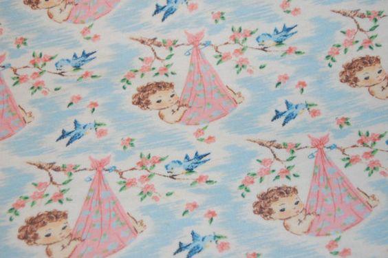 Vintage retro baby bluebird rose nursery juvenile children for Retro nursery fabric