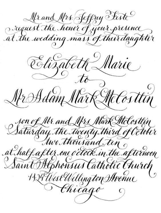 Diy Calligraphy Wedding Invitation Wording To Print