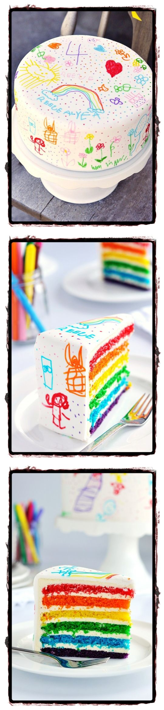 le doodle cake un g teau d 39 anniversaire repr sentant un dessin d 39 enfant couleurs arc en ciel. Black Bedroom Furniture Sets. Home Design Ideas