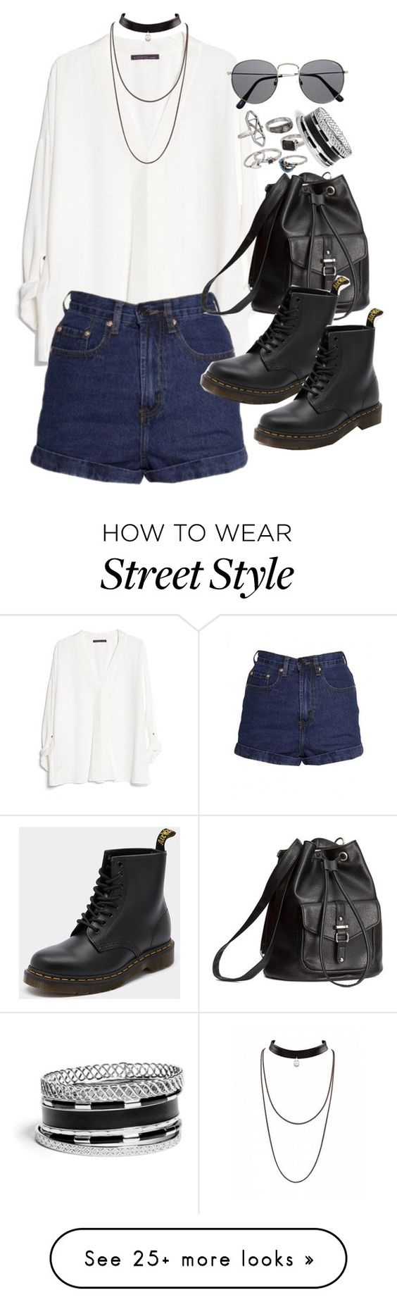 """""""Requested outfit"""" by ferned on Polyvore featuring MANGO, H&M, Dr. Martens, Mudd and GUESS"""