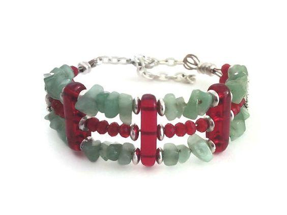 Free shipping:  Adventurine cuff bracelet by barefootcreekjewelry #giftideas #christmasjewelry