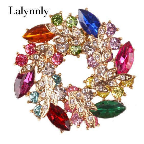 High Quality Fashion Rhinestone Brooch for Women Alloy Round Colorful Brooches Pins Brooch for Women Whloesale X00351