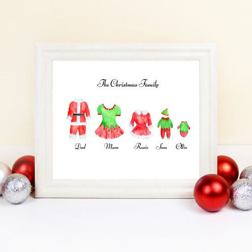 Personalised Christmas Family Print Family Gift Christmas Etsy Family Christmas Gifts Personalized Christmas Santa Gifts
