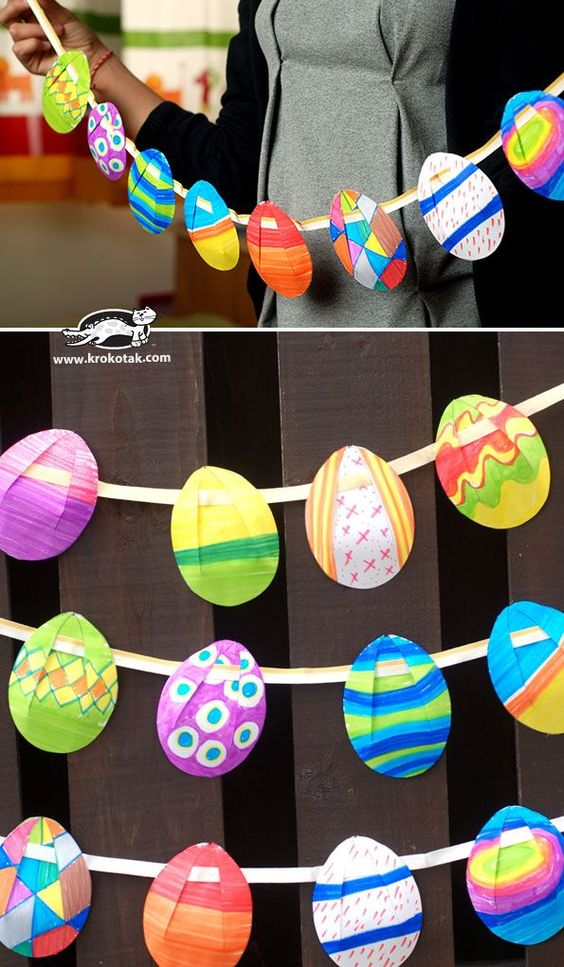 Easter Egg Garland...free printable... -  Easter Egg Garland…free printable…  - #artsandcrafts #creativecrafts #easter #eastercrafts #Egg #garland #Garlandfree #halloweencrafts #printable