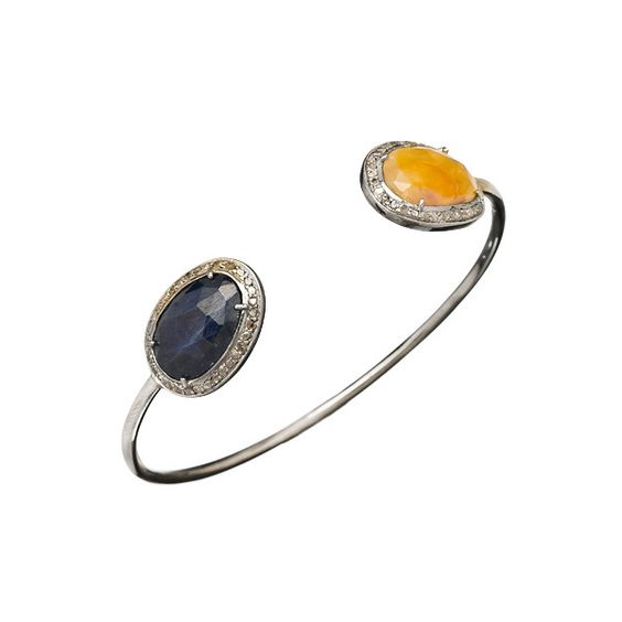 Jemma Sands Yellow and Blue Sapphire Open Bangle Bracelet ($1,133) ❤ liked on Polyvore