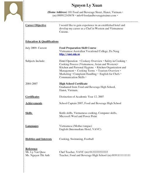 Resume Examples With No Experience Resume Examples Resume Vocational College