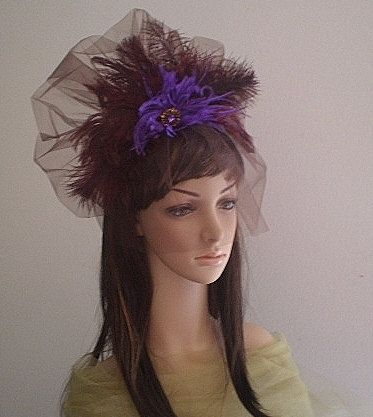 Birdcage Hair Fascinator -Purple Feathers Fascinator-Purple Ostrich Feathers-Burgundy Ostrich Feathers-Brooch
