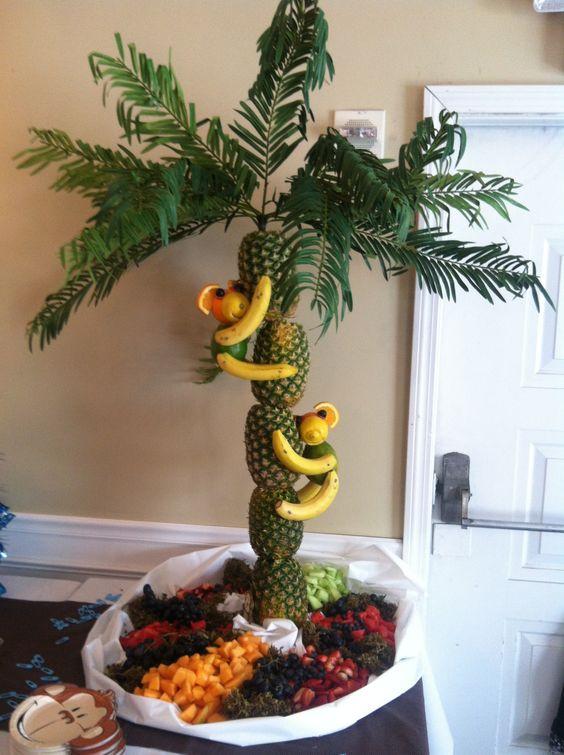 Monkey theme baby shower fruit tree my style for Baby shower fruit decoration ideas