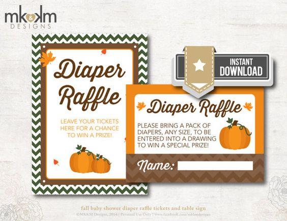 Pumpkin Diaper Raffle, Diaper Raffle Tickets, Fall Baby ...