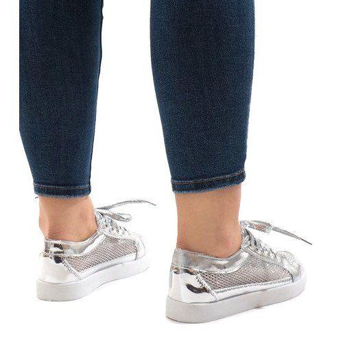 Srebrne Tenisowki Azurowe 521 Szare Sneakers Trainers Women Silver Sneakers