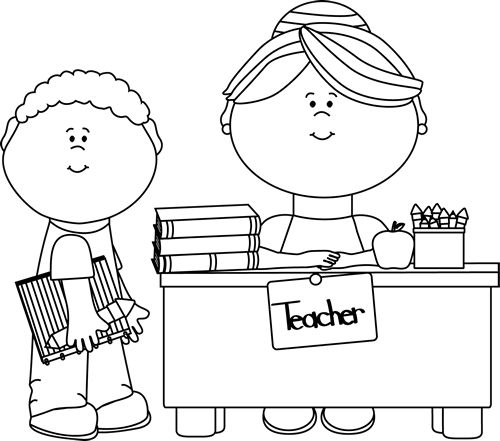Clip Art Teacher Clipart Black And White clip art black and white boy student at teachers desk art