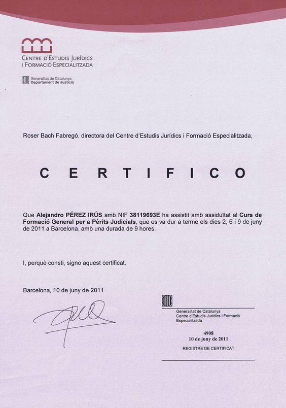 Certificado Formacion Renovación Conocimiento de Perito Judicial Inmobiliario para trabajar en Juzgados de Barcelona Alejandro Perez Irus AlejandroPI Medico Inmobiliarias