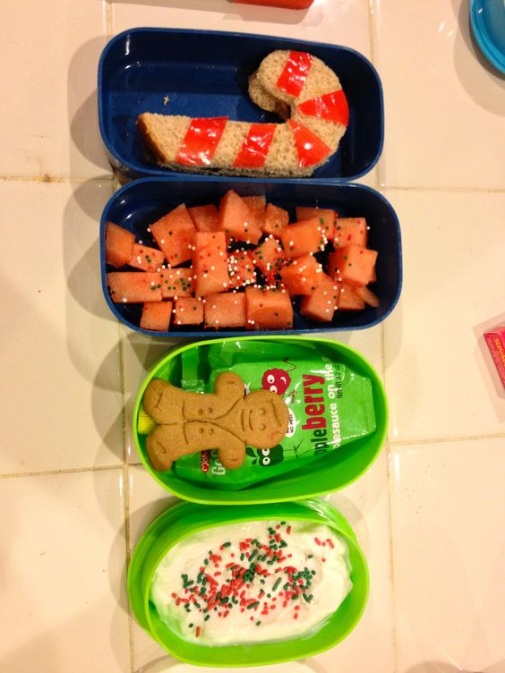 Candy Cane sandwich with fruit roll up stripes, watermelon with festive sprinkles & a gingerbread cookie.
