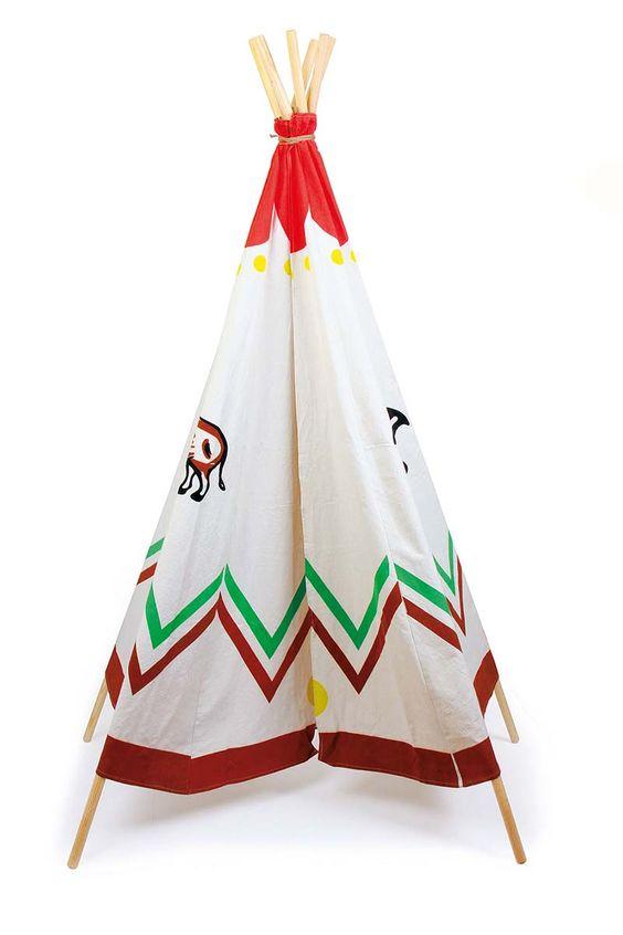 """Indianerzelt """"Deluxe"""" - Genügend Platz für große Abenteuer bietet dieses Zelt – ein Muss für jeden kleinen Großstadt- Indianer. Grabt das Kriegsbeil aus lautet hier das Motto. Das Zelt schafft das perfekte Indianerfeeling und wird jeden Winnetou- und Poccahontas-Fan begeistern. Das Indianerzelt bietet echten Spielspaß für Drinnen und Draußen. Also – alle ab ins Tipi, es muss Kriegsrat gehalten werden. ca. 200 cm; Ø ca. 110 cm"""