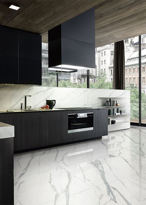 Statuario Venato By Gani Marble Tiles Is Similar To The Marble Used By The Great Renaissance Scu Modern Marble Kitchen Marble Floor Kitchen Grey Marble Kitchen