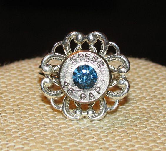 Speer 45 caliber nickel bullet casing flower ring with swarovski rhinestone