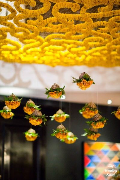Stunning Ceiling Decor Ideas You Can Steal For Your Wedding!| Best Wedding Decor Ideas: Browse Mehendi, Sangeet and Wedding decor | Genda Phool Decor Ideas | Mehendi Decor Ideas | Floral decor Ideas | function Mania