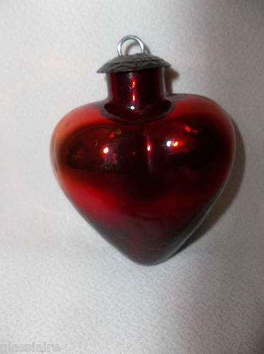 Vintage midwest kugel red heart christmas ornament
