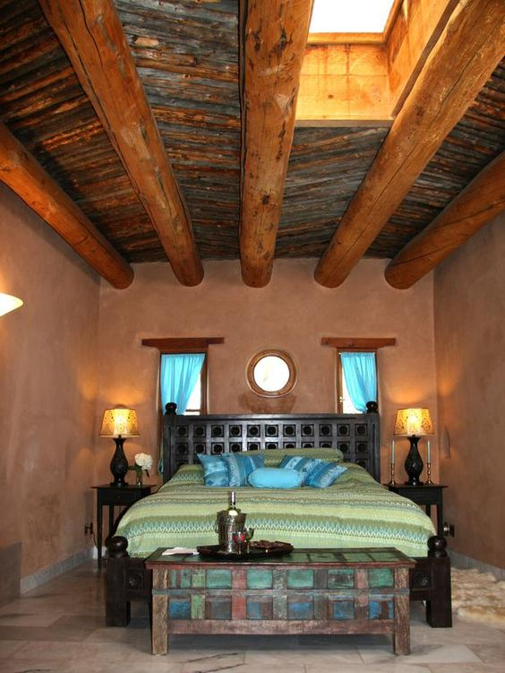 #HouseHunters Faves:  Asian and Indian influences lend an exotic touch to the space, while the rustic wood-beam ceiling and textured adobe walls help this Santa Fe bedroom stay true to its Spanish roots.: Dreamy Spaces, Dreamy Bedroom, Wall Clock, Blog Design, Adobe Bedroom, Adobe Home, Design Blog