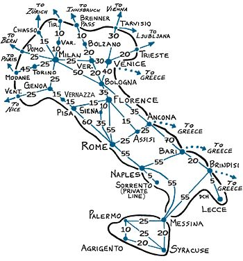 poster map of italy with pompeii