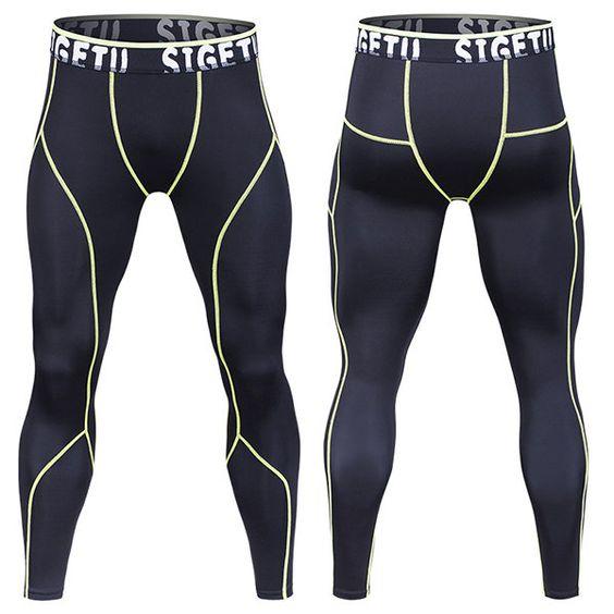 Mens Sport Pants Quick-drying High-Elastic Jogging Fitness Training Tights