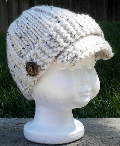 Knitting Pattern For Baby Hat With Brim : Quick & Easy Knitted Newsboy Hat for the Family Knitting ...