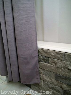 DIY how-to for airstone veneer for tub. Also, curtain tutorial?