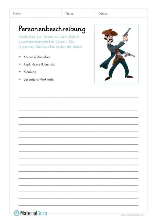 Arbeitsblatt Personenbeschreibung Schreiben Cowboy