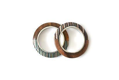 Bracelets IRINA ACLA | Wooden combination with blue and turquoise stripes | Handmade jewelry set