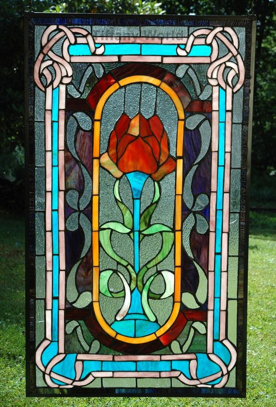"20"" x 34"" Large Size Tiffany Style Stained Glass Window Panel Big Rose Flower 