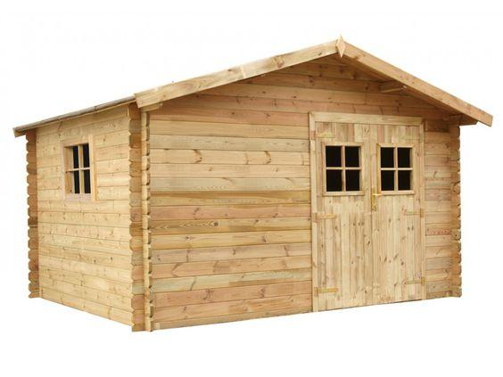 Soldes Abri de jardin KAHOYA en bois traité classe III -12m² - toit en feutre bitumé prix Soldes Abri de jardin Vente Unique 1 099,99 €