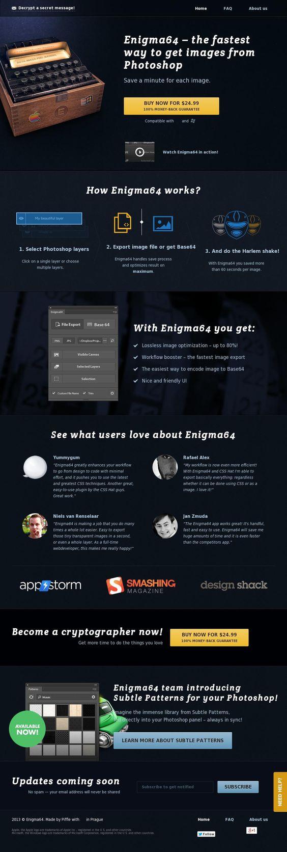 Site produit monopage The website 'http://getenigma64.com/' courtesy of @Pinstamatic (http://pinstamatic.com)