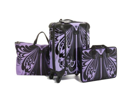 Anna Sui, the quirky girl's dream designer, has just launched a new luggage line—including a wheelie, laptop case, tote, and shoe bags—in collaboration with Tumi.