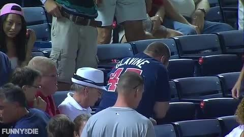 Fan Catches Ball with His Face