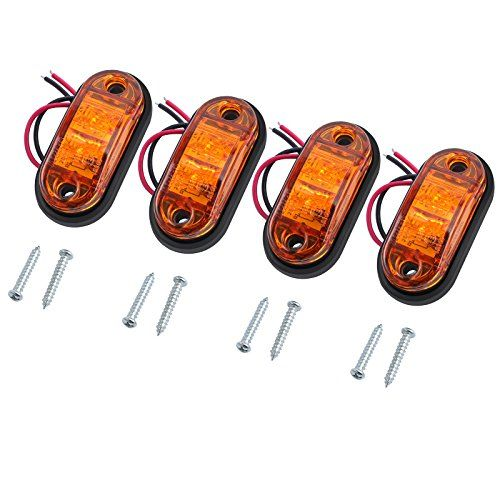Justech 4pcs Side Marker Lights Led Front Rear Lights Lamps Universal Indicator Of Position 12v 24v With Amber Bulbs For Tru Truck And Trailer Lorry Led Lights