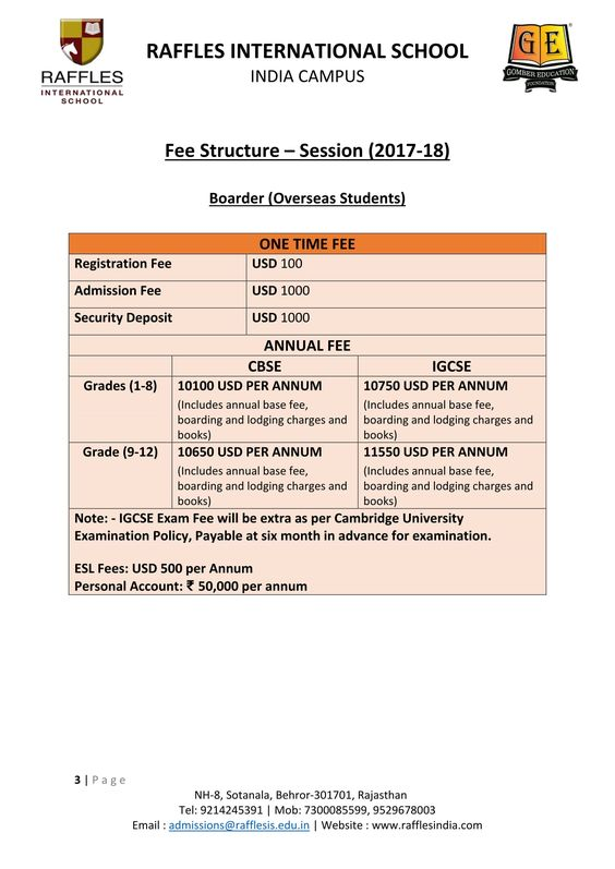 Fee Structure- Boarding Students of Overseas from Class III to XII - admission form school