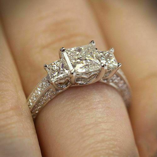 Pin On Three Diamond Engagement Ring