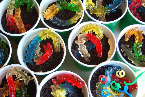 Dirt Cake with centipedes