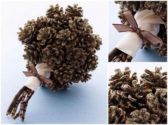 Weddbook diy bouquet de mariage pomme de pin bricolage - Bricolage avec pomme de pin ...