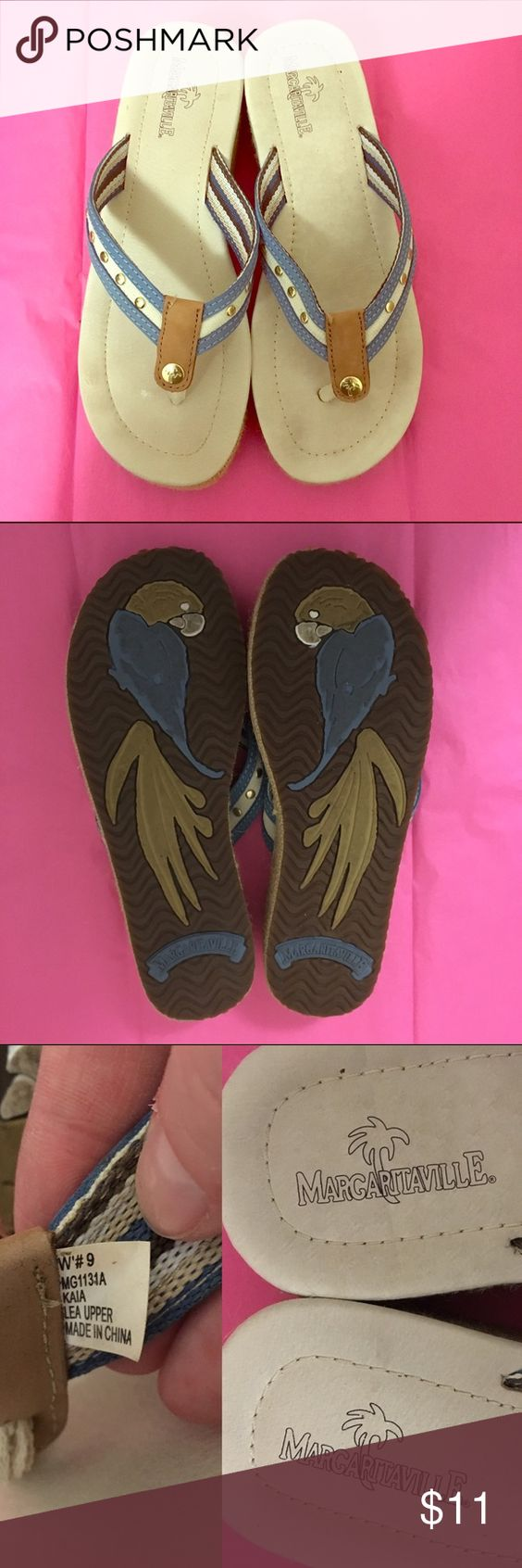 Euc 9 margaritaville flip flops Super cute! Margaritaville brand tan and blue flip flops with gold accents, Euc no flaws just some minor wear size 9 women's Margaritaville Shoes Sandals