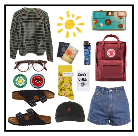 """Art Hoe Goes On a Trip"" by pradamuse ❤ liked on Polyvore featuring Prada, Fjällräven, Birkenstock, Cutler and Gross, Bonne Maison and Polo Ralph Lauren"