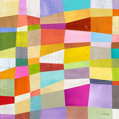 'Abstract Blocks' by Melanie Mikecz Painting Print on Wrapped Canvas